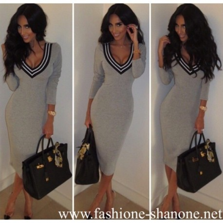 305 - Deep V neckline grey dress
