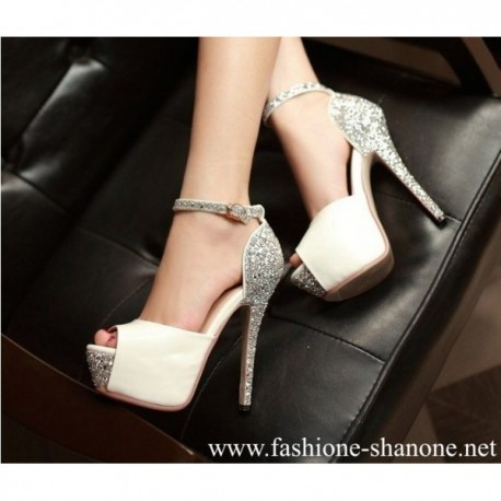 305 - White and sparkle high heels platform pumps