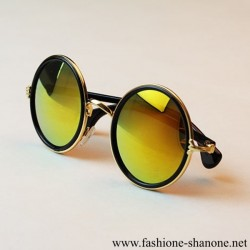 305 - Retro gold sunglasses with reflective glasses and metal frame