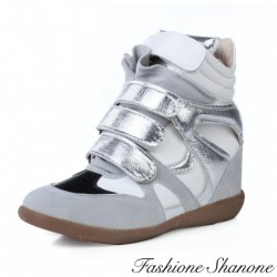 Silver grey and white wedge sneakers