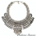 Bohemian chic silver necklace