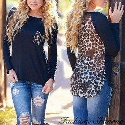 Black and leopard t-shirt with small pocket