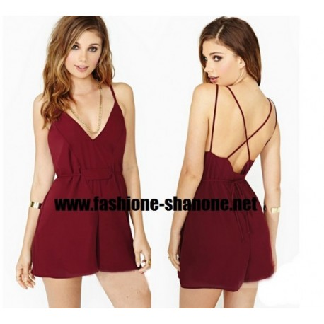Combinaison short bordeaux