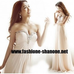 Robe longue champagne avec strass