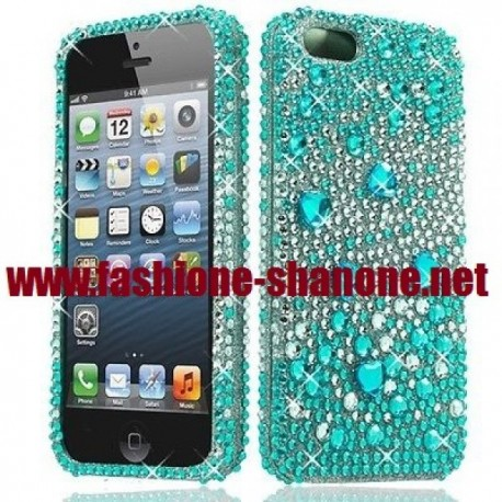 Coque IPHONE 5/5S strass verte
