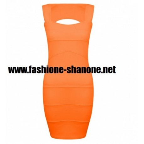 Robe flashy orange avec dos ouvert