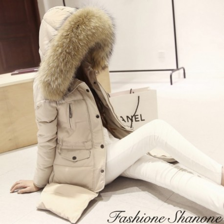 Beige down coat with hooded fur
