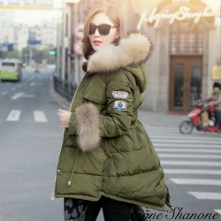 Waisted down coat with fur