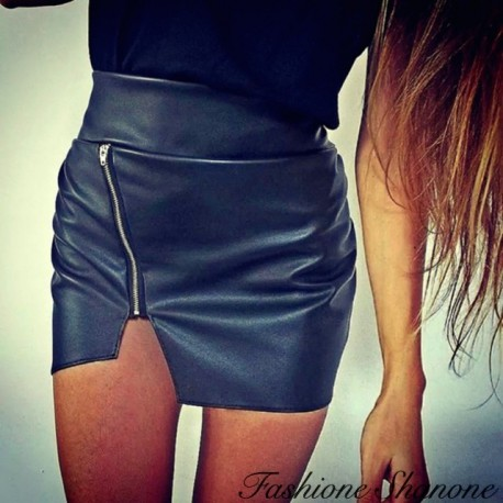 Black leather skirt with zipper
