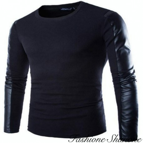 Black t-shirt with leather sleeve